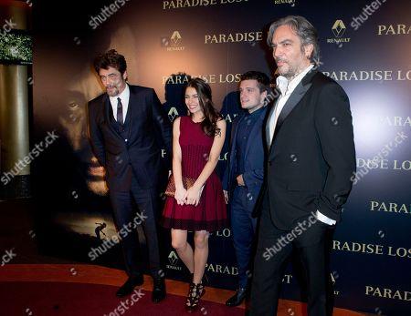"""From left, actors Benicio del Toro, Claudia Traisac, Josh Hutcherson and director Andrea Di Stefano leave to the photo call to present the movie """"Escobar: Paradise Lost"""" in Paris"""