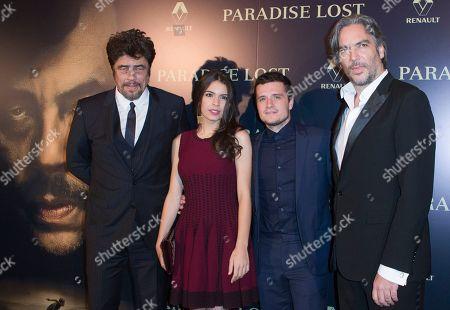 """From left, actors Benicio del Toro, Claudia Traisac, Josh Hutcherson and director Andrea Di Stefano pose during the photo call to present the movie """"Escobar: Paradise Lost"""" in Paris"""