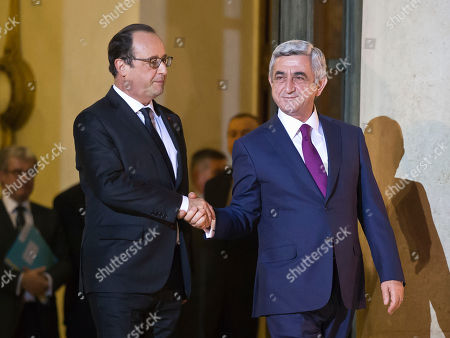 Serge Sarkisian, Francois Hollande French President Francois Hollande, left, and Armenian President Serge Sarkisian, bid farewell after a meeting at the Elysee Palace in Paris, France, . French President Francois Hollande is holding a joint meeting in Paris Monday with the leaders of Azerbaijan and Armenia in an attempt to ease tensions, following the escalation of violence in the disputed Nagorno-Karabakh region of the southern Caucasus