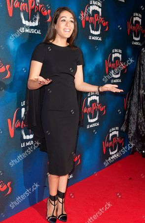 """French-Moroccan singer Sofia Essaidi poses at the premiere of """"The Fearless Vampire Killers"""", in Paris. Nearly 50 years after Roman Polanski directed the comedy-horror film ''The Fearless Vampire Killers,'' he is directing a musical version for the Paris stage. The 81-year-old hopes the popularity of the movie, which he and his future wife Sharon Tate starred in, will help make the musical a hit and boost Paris' dreary theater scene"""