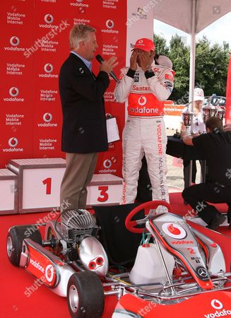 Steve Ryder with Lewis Hamilton, who returns to his go carting roots at the Daytona circuit in Milton Keynes showing young carting hopefuls how to get ahead and reach their racing dreams