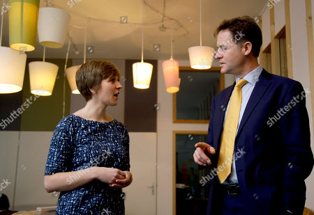 Sarah Kennedy, Nick Clegg Britain's Deputy Prime Minister Nick Clegg, right, talks to designer Sarah Kennedy, left, during a visit at the Betahaus (Betahouse) coworking space in Berlin, Germany, . Betahaus is a space for individuals who want to choose and share their ideas of work