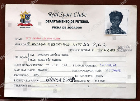 Footballing superstar Luis Nani, who has signed to Manchester United from Sporting Lisbon The registration form for Luis Nani  at the time he signed for his first football club  Real Sport Clube Lisbon at the age of 8 years old