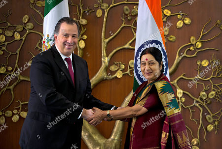 Sushma Swaraj, Jose Antonio Meade Kuribrena Indian Foreign Minister Sushma Swaraj, right, greets Mexican Secretary of Foreign Affairs Jose Antonio Meade Kuribrena in New Delhi, India, . Kuribrena is on a four-day visit to India