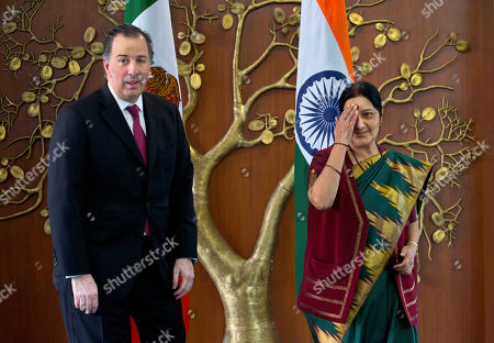 Sushma Swaraj, Jose Antonio Meade Kuribrena Indian Foreign Minister Sushma Swaraj, right, and Mexican Secretary of Foreign Affairs Jose Antonio Meade Kuribrena stand for a photograph prior to a meeting in New Delhi, India, . Kuribrena is on a four-day visit to India