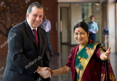Sushma Swaraj, Jose Antonio Meade Kuribrena Indian Foreign Minister Sushma Swaraj, right, shakes hand with Mexican Secretary of Foreign Affairs Jose Antonio Meade Kuribrena in New Delhi, India, . Kuribrena is on a four-day visit to India