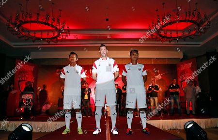 Joan Capdevila Spain's Joan Capdevila, center, stands with other members of NorthEast United Football Club during the launch of their Hero Indian Super League 2014 (ISL) jersey, in Gauhati, India, . ISL begins October. 12