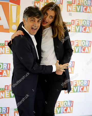 """Director and Actor Vincenzo Salemme, left, and Margareth Made' pose for photographers during the photocall of the movie """"..E Fuori Nevica"""" in Rome"""