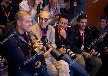 Franco Battiato jokes with photographers during the photo call of the movie 'Due Volte Delta' at the 9th edition of the Rome International Film Festival in Rome