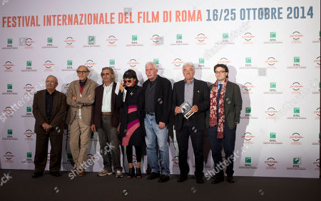 Director Elisabetta Sgarbi, center, poses with with cast of her movie 'Due Volte Delta' at the 9th edition of the Rome International Film Festival in Rome