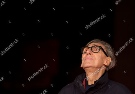 Musician Franco Battiato poses for photographers during the red carpet of the movie 'Due Volte Delta' at the 9th edition of the Rome International Film Festival in Rome