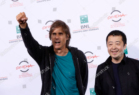 Stock Photo of Walter Salles Jia Zhangke Brazilian director Walter Salles and Chinese director Jia Zhangke, left, pose during a photo call for the movie 'Jia Zhangke, un gars de Fenyang' ('Jia Zhangke, a boy of Fenyang') at the 9th edition of the Rome Film Festival in Rome