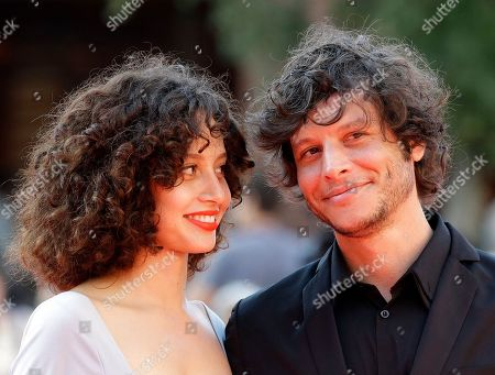 "Stock Picture of Director Luis Ortega, right, and actress Ailin Salas pose for photographers on the red carpet for the screening of the movie ""Lulu"" at the Rome Film Festival, in Rome"