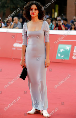 "Stock Photo of Actress Ailin Salas poses for photographers on the red carpet for the screening of the movie ""Lulu"" at the Rome Film Festival, in Rome"