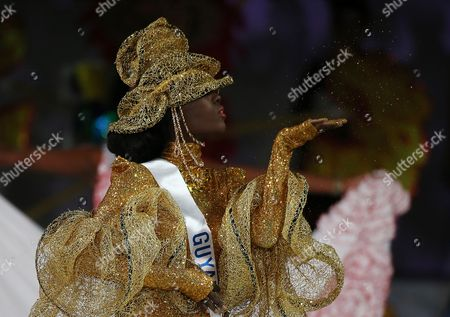 Stock Picture of Ruqayyah Boyer Miss Guyana Ruqayyah Boyer displays in the costume competition during the final of Miss International Beauty Pageant in Tokyo
