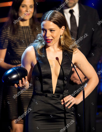 """Stock Image of Leandra Leal Brazilian actress Leandra Leal receives the Fenix Award for best actress for her role in the film, """"O Lobo Atrás da Porta"""" during the Fenix Iberoamerican Film Awards at the Esperanza Iris Theater in Mexico City"""