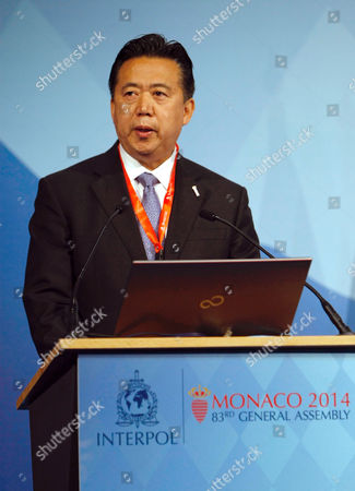 Meng Hongwei People's Republic of China Vice Minister and Ministry of Public Security, Meng Hongwei, delivers his speech to Interpol members during the 83rd Interpol General Assembly, at the Grimaldi Forum, in Monaco