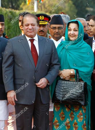 Nawaz Sharif, Kalsoom Nawaz Pakistan Prime Minister, Nawaz Sharif, left, accompanied by his wife Kalsoom Nawaz, arrives at the Tribhuwan Airport to attend the 18th summit of South Asian Association for Regional Cooperation (SAARC) in Katmandu, Nepal, . Leaders from Afghanistan, Bangladesh, Bhutan, India, Maldives, Nepal, Pakistan and Sri Lanka will meet as a group and also hold bilateral discussions on the sidelines of the summit on Wednesday and Thursday