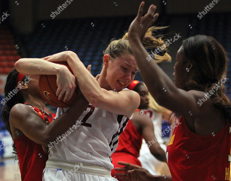 Louise Brown, A'Lexus Harrison, Lexie Brown Washington State forward Louise Brown, center, battles for a rebound against Maryland forward A'Lexus Harrison, right, and teammate guard Lexie Brown, during a NCAA college women's basketball game in Guaynabo, Puerto Rico