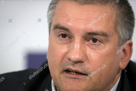 Sergei Aksyonov Crimean leader Sergei Aksyonov speaks to the media during a news conference in Moscow, Russia, . Aksyonov, the Kremlin-backed leader of Crimea, which was annexed by Russia in March, spoke in a news conference in Moscow about social and economic problems the region is facing