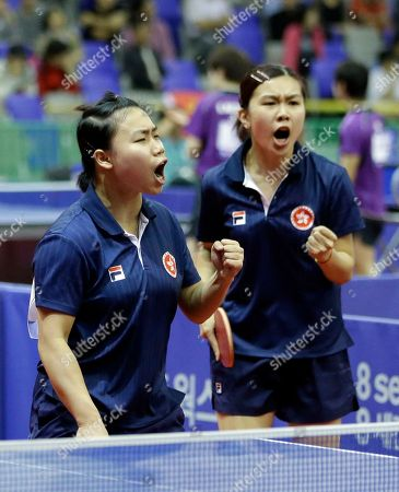 Lee Ho Ching, Ng Wing Nam Hong Kong's Lee Ho Ching, right, Ng Wing Nam, right react against South Korea's Jeon Ji-hee and Lee Eun-hee during their women's doubles quarterfinal table tennis match at the 17th Incheon Asian Games in Suwon, South Korea