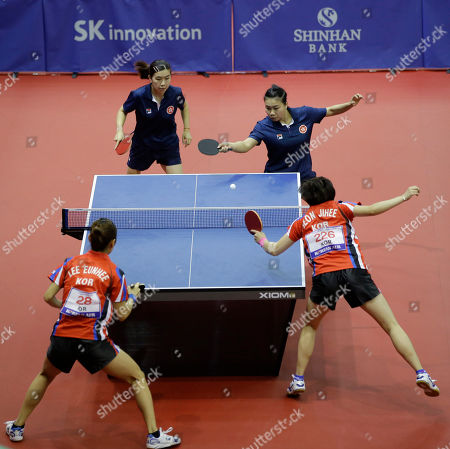 Lee Ho Ching, Ng Wing Nam Hong Kong's Lee Ho Ching, left, and Ng Wing Nam, right, compete against South Korea's Jeon Ji-hee and Lee Eun-hee during their women's doubles quarterfinal table tennis match at the 17th Incheon Asian Games in Suwon, South Korea