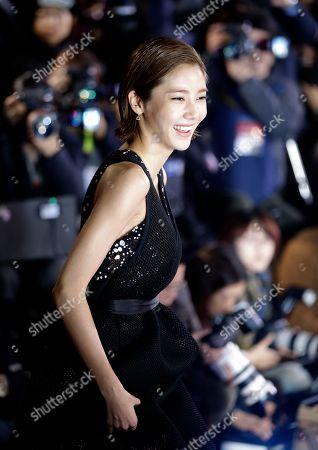 South Korean actress Son Dam-bi arrives for a photo call during the Daejong Film Awards in Seoul, South Korea