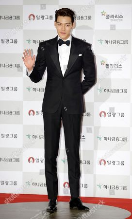 Stock Picture of South Korean actor Kim Woo-bin poses for a photo call during the Daejong Film Awards in Seoul, South Korea