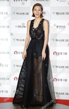 South Korean actress Son Dam-bi poses for a photo call during the Daejong Film Awards in Seoul, South Korea