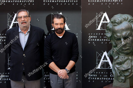 Stock Photo of Enrique Gonzalez Macho, Antonio Banderas President of Spanish Cinema Academy Enrique Gonzales Macho and Spanish actor Antonio Banderas pose for the media at the Cinema Academy in Madrid, Spain, . Banderas will receive an honorary Goya award for his film career during the upcoming Goya Award Ceremony