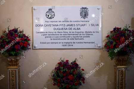 The tombstone of Maria del Rosario Cayetana Fitz-James Stuart y Silva, the Duchess of Alba is seen in the Gipsy Chuch in Seville, Spain, . The Duchess of Alba, who was one of Spain's wealthiest and most colorful aristocrats and listed as the world's most titled noble, died Thursday at the age of 88. Twice-widowed, the fabulously wealthy Duchess raised eyebrows in 2011 when at the age of 85 she wed her third husband, a civil servant 25 years her junior