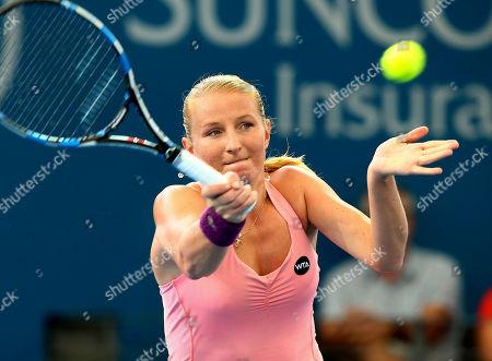 Alla Kudryavtseva Alla Kudryavtseva of Russia plays a shot in her match against Karolina Pliskova of the Czech Republic during the Brisbane International tennis tournament in Brisbane, Australia