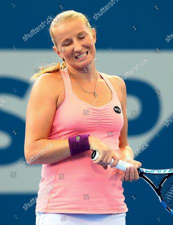Alla Kudryavtseva Alla Kudryavtseva of Russia reacts after missing a shot in her match against Karolina Pliskova of the Czech Republic during the Brisbane International tennis tournament in Brisbane, Australia