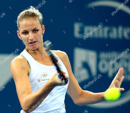 Karolina Pliskova Karolina Pliskova of the Czech Republic plays a shot in her match against Alla Kudryavtseva of Russia during the Brisbane International tennis tournament in Brisbane, Australia