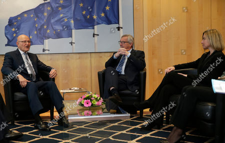 Jean-Claude Juncker, Tamam Salam, Federica Mogherini European Commission President Jean-Claude Juncker, centre and EU foreign policy chief Federica Mogherini, right, talk with Lebanese Prime Minister Tamam Salam upon his arrival at the European Commission headquarters in Brussels