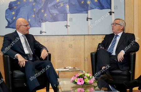 Jean-Claude Juncker, Tamam Salam European Commission President Jean-Claude Juncker, right, welcomes Lebanese Prime Minister Tamam Salam at the European Commission headquarters in Brussels