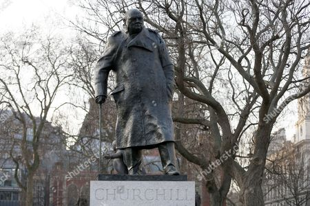 A bronze statue of Britain's World War II leader Sir Winston Churchill, by sculptor Ivor Roberts-Jones, stands in Parliament Square, London, . Saturday marks the 50th anniversary of the death of Churchill, who twice served as Britain's Prime Minister and died in London aged 90 on January 24, 1965