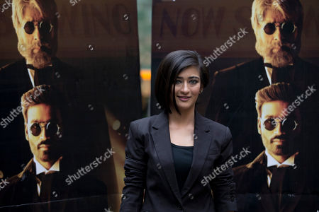 "Indian actress Akshara Haasan poses for photographers during a photocall to promote the movie ""Shamitabh"" at a hotel in London"