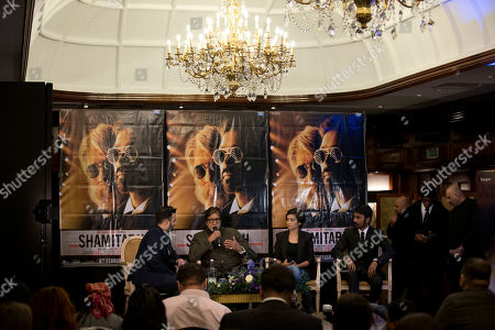 "Indian actors Amitabh Bachchan, second left, Dhanush, right, and Akshara Haasan, second right, speak during a press conference to promote the movie ""Shamitabh"" at a hotel in London"