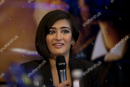 "Indian actress Akshara Haasan speaks during a press conference to promote the movie ""Shamitabh"" at a hotel in London"