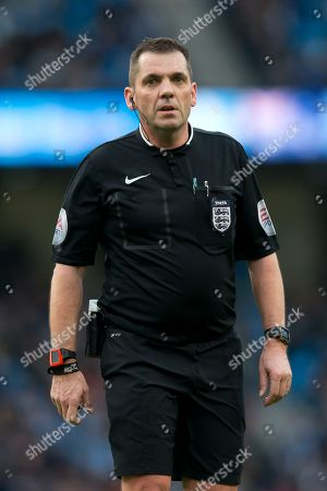 Referee Phil Dowd Referee Phil Dowd during the English FA Cup fourth round soccer match between Manchester City and Middlesbrough at the Etihad Stadium, Manchester, England