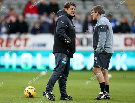 Newcastle United's assistant manager John Carver, left, and Peter Beardsley, right, ahead of their English Premier League soccer match between Newcastle United and Burnley at St James' Park, Newcastle, England