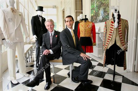Tailor Edward Sexton and Curator James Sherwood with some of the clothes on display at the Savile Row exhibition. Including  the 1920's Royal Ascot morning suit worn by Edward V111 when he was Prince of Wales.