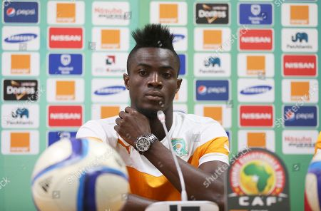 Eric Bertrand Bailly Ivory Coast soccer player Eric Bertrand Bailly attends a press conference ahead of his Group D African Cup soccer match at Estadio De Malabo in Malabo, Equatorial Guinea