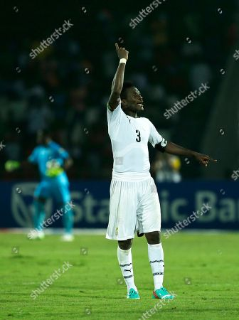 Ghana's Asamoah Gyan, celebrates at the end of their African Cup of Nations Group C soccer match against Algeria in Mongomo, Equatorial Guinea