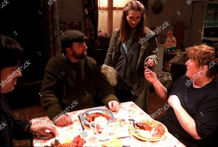 'Emmerdale'  TV - 2001 - Emily Kirk (Kate Mcgregor) with Zak (Steve Halliwell) and Lisa (Jane Cox)