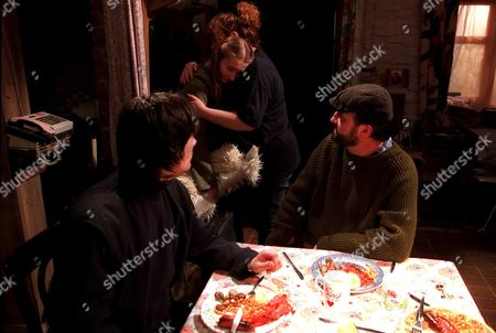 'Emmerdale'  TV - 2001 - Cain Dingle (Jeff Hordley) and Zak (Steve Halliwell) watch on as Emily (Kate McGregor) and Lisa (Jane Cox) embrace