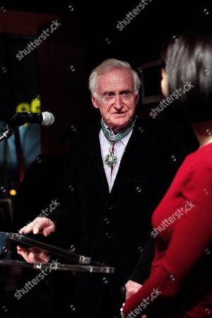 British director John Boorman delivers a speech after he was awarded the medal of commandeur de l'Ordre des Arts et Lettres, in Paris