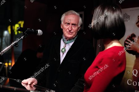 Stock Image of British director John Boorman delivers a speech after he was awarded the medal of commandeur de l'Ordre des Arts et Lettres, in Paris