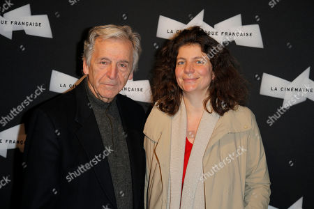 French director Costa Gavras, left, and his daughter Julie Gavras pose during a photo call for the 'Pasolini' screening of Director Abel Ferrara at the Cinematheque Francaise in Paris